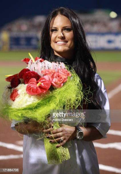Former American Idol contestant Pia Toscano attends the Brooklyn Cyclones vs. The Tri-City Valley Cats of Troy game at MCU Park on August 22, 2011 in...