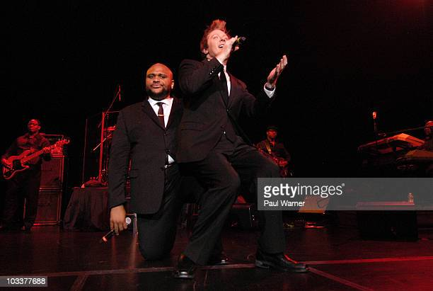 Former American Idol contestants Ruben Studdard and Clay Aiken perform together at The Venue at The Horseshoe Casino on August 13 2010 in Hammond...