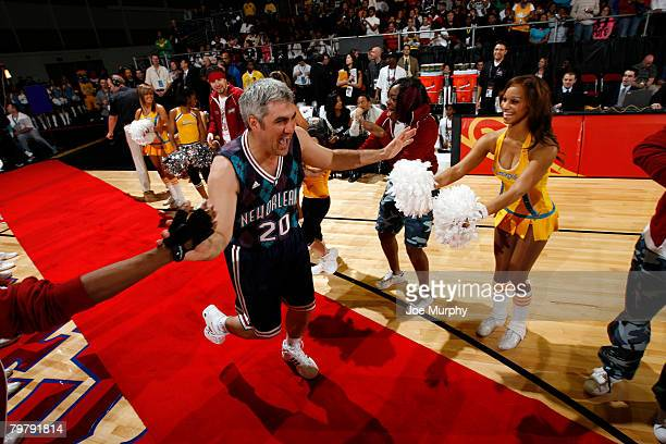 Former American Idol winner Taylor Hicks is introduced during the McDonald's NBA AllStar Celebrity Game on center court during NBA Jam Session...