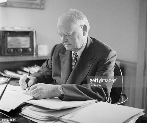 Former American president Herbert Hoover is currently the chairman of the Hoover Commission, which was created by President Truman to reorganize and...