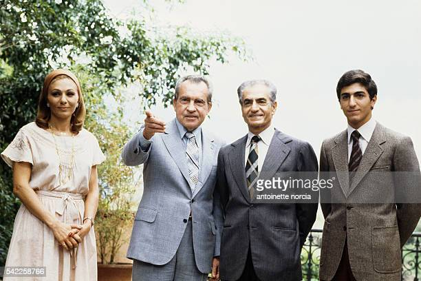 Former American president Richard Nixon meets last emperor and Shah of Iran Mohammed Reza Pahlavi his wife Farah Diba and their son Prince Reza...