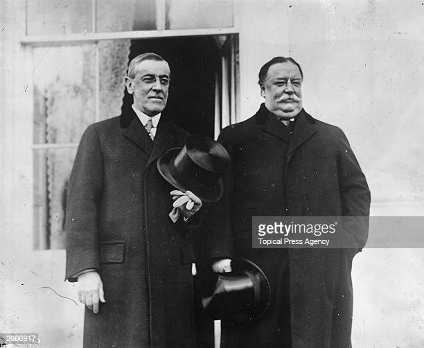 Former American President William Howard Taft right and Woodrow Wilson at Wilson's inauguration as the 28th President of the United States of America