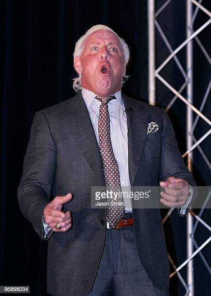 Former American Professional Wrestler Ric Flair performs his famous yell 'Wooooo' for the media during the NASCAR Sprint Media Tour hosted by...
