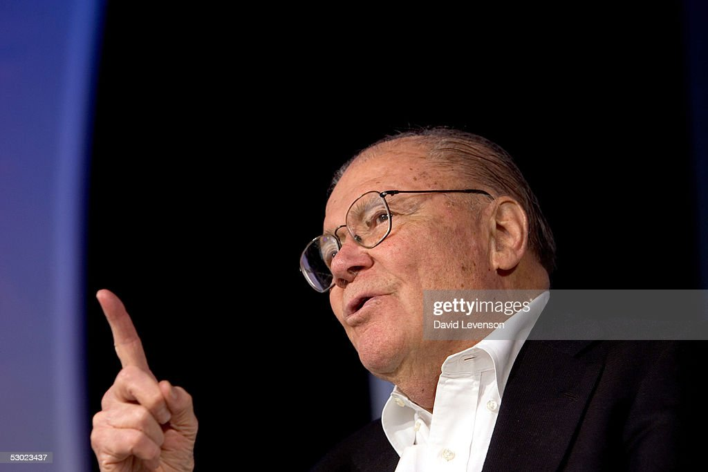 Former American Secretary of Defence and Nobel Prize winner, Robert McNamara, discusses nuclear weapons at 'The Guardian Hay Festival 2005' held at Hay on Wye on June 5, 2005 in Powys, Wales.