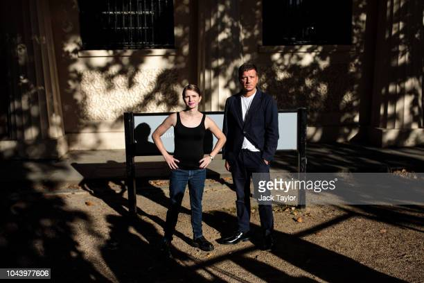 Former American soldier and whistleblower Chelsea Manning and director of the ICA Stefan Kalmer pose during a photo call outside the Institute Of...