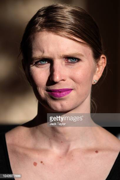 Former American soldier and whistleblower Chelsea Manning poses during a photo call outside the Institute Of Contemporary Arts ahead of a Q&A event...
