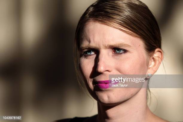 Former American soldier and whistleblower Chelsea Manning poses during a photo call outside the Institute Of Contemporary Arts ahead of a QA event on...