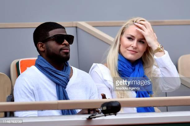 Former American World Cup alpine ski racer Lindsey Caroline Vonn and boyfriend PK Subban attend during the match between Anna Karolina Schmiedlova of...