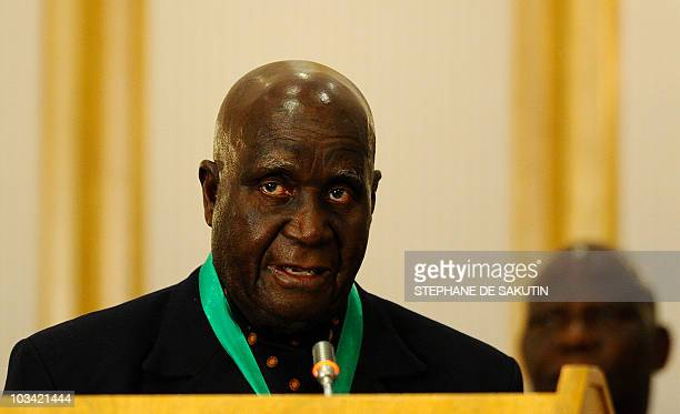Former and first Zambian president Kenneth David Kaunda delivers a speech during the closing ceremony of the 30th SADC summit on August 17 2010 in...