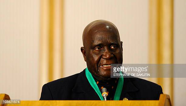 Former and first Zambian president Kenneth David Kaunda delivers a speech during the closing ceremony of the 30th Southern African Development...