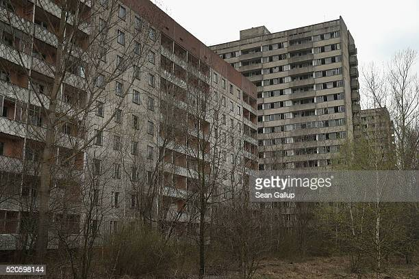 Former apartment buildings stand abandoned on April 9 2016 in Pripyat Ukraine Pripyat built in the 1970s as a model Soviet city to house the workers...