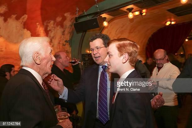 "Former Apollo astronaut Captain Gene Cernan, television journalist Neil Cavuto and Bradley Cavuto attend ""The Last Man on the Moon"" New York..."