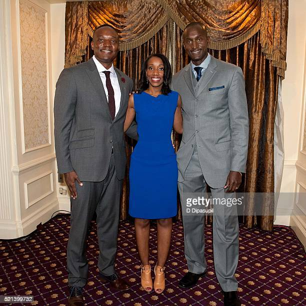 Former 'Apprentice' participants Kwame Jackson Tara Dowdell and Dr Randal Pinkett attend the Former Apprentices Speak Out Donald Trump You're Fired...