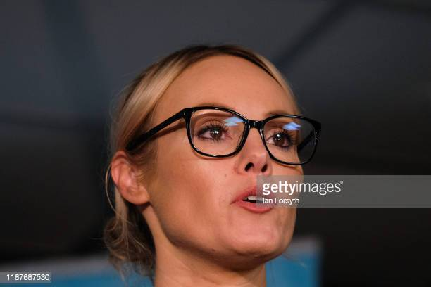 Former apprentice star and Brexit party parliamentary candidate for Hull Michelle Dewberry speaks during a Brexit Party general election campaign...
