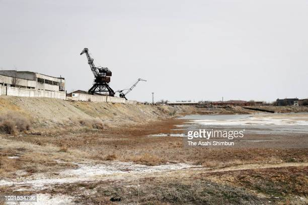 Former Aral Fish Port where is dried as the waters had receded on April 19 2018 in Aral Kazakhstan The Aral Sea used to be the fourth biggest lake in...