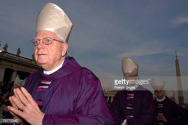 Former Archbishop of Boston Cardinal Bernard Law attends a mass celebrated by Pope Benedict XVI during the second anniversary celebrating the life of...