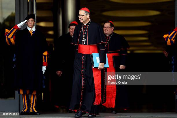Former archbishop of Los Angeles cardinal Roger Mahony leaves the Synod Hall at the end of the Extraordinary Consistory for the creation of new...