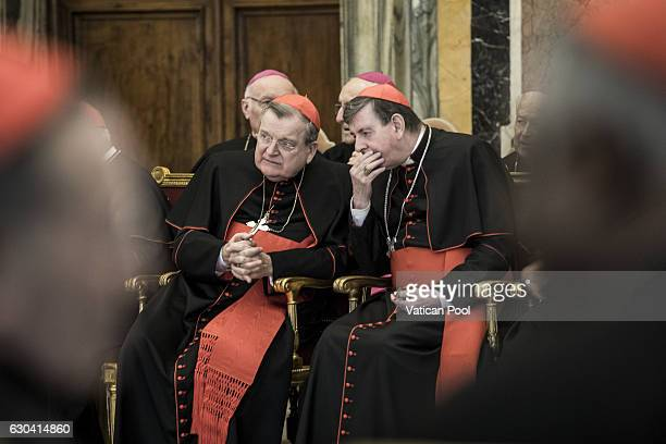 Former archbishop of St Louis cardinal Raymond Burke chats with a cardinal during the Christmas greetings of the Roman curia at the Clementina Hall...