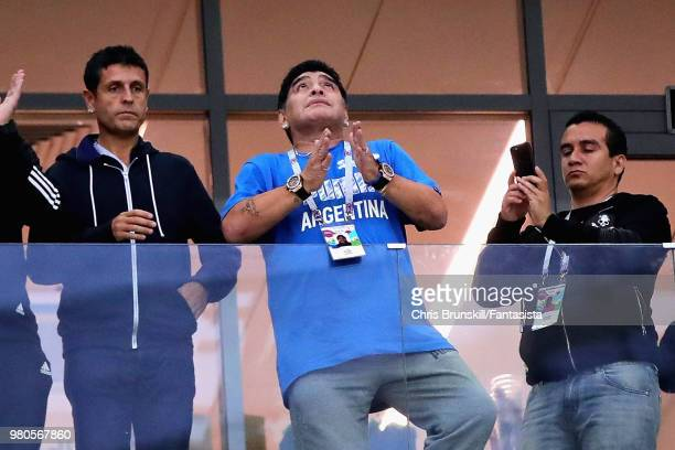 Former Argentina player Diego Maradona looks on before the 2018 FIFA World Cup Russia group D match between Argentina and Croatia at Nizhny Novgorod...