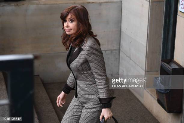 Former Argentina president Cristina Kirchner leaves a federal court in Buenos Aires on August 13 2018 Kirchner appeared before judge running enquiry...