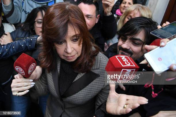 Former Argentina president Cristina Kirchner leaves her appartment on her way to court in Buenos Aires Argentina on August 13 2018 Kirchner appears...