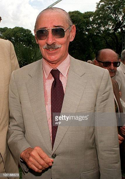 Former Argentine dictator Jorge Rafael Videla, seen in this November 1996 file photo, was arrested 09 June in Buenos Aires on charges of crimes...