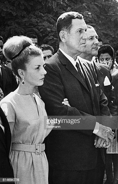 Former Argentine dictator Juan Peron and wife Isabelita attend the funeral of a former associate in Madrid Spain | Location Madrid Spain