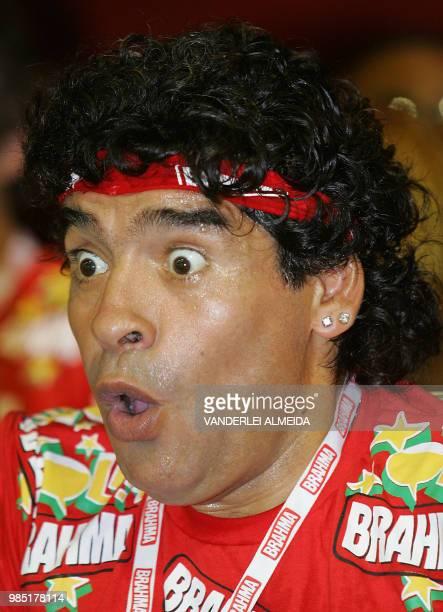 Former Argentine football player Diego Maradona takes part in events during Rio de Janeiro's samba school parade 26 February 2006 AFP PHOTO/VANDERLEI...