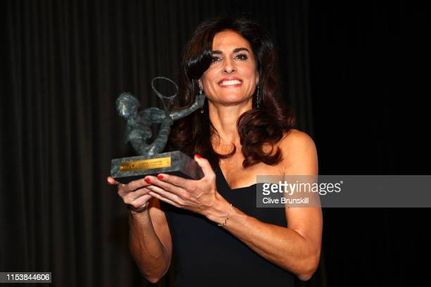Former Argentine Grand Slam winner Gabriela Sabatini accepts the Philippe Chattier award during the ITF World Championships Dinner during Day ten of...