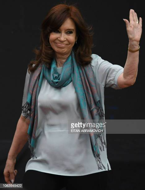 Former Argentine president and current senator Cristina Kirchner gestures during the First World Critical Thinking Forum in Buenos Aires on November...