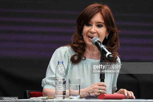 Former Argentine president and current senator Cristina Kirchner speaks during the First World Critical Thinking Forum in Buenos Aires on November 19...