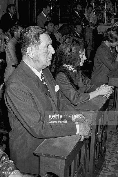 Former Argentine President Domingo Perón and his second wife Isabel Martinez in a mass in memory of Evita Peron 25th July 1985 Madrid Spain