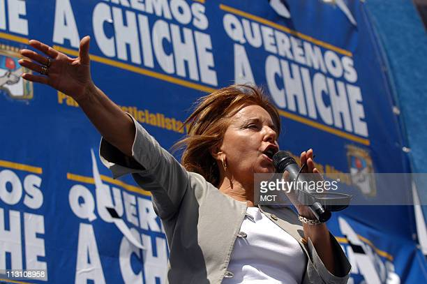 Former Argentinean first Lady Hilda Chiche Duhalde speaks during a rally in Jose C Paz in the outskirts of Buenos Aires September 28 2005 The fight...