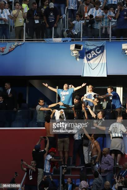 Former Argentinian football player Diego Armando Maradona is seen during the 2018 FIFA World Cup Russia Group D match between Nigeria and Argentina...
