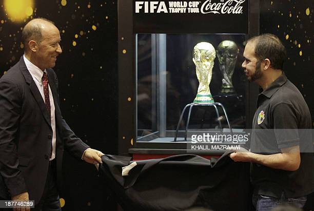 Former Argentinian footballer and international coach Gabriel Calder and Jordanian Prince Ali Bin alHussein FIFA vicepresident unveil the FIFA World...