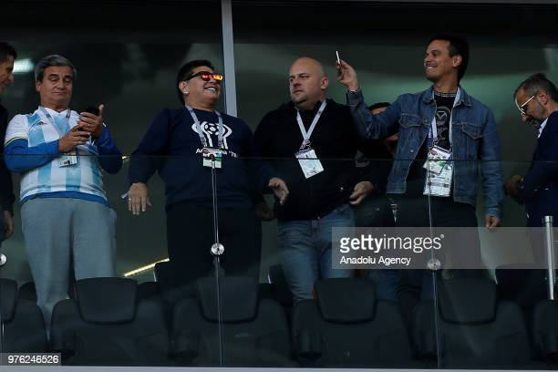 Former Argentinian player Diego Maradona is seen during the 2018 FIFA World Cup Russia Group D match between Argentina and Iceland at Spartak Stadium...