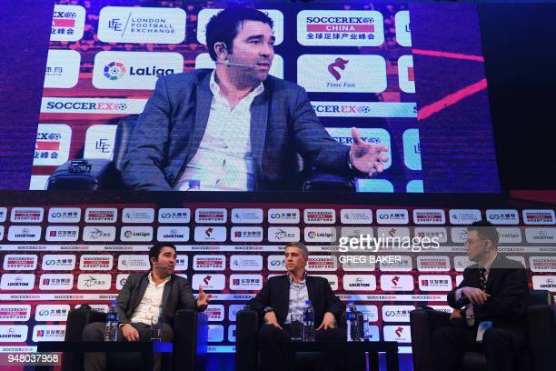 Former Argentinian player Hernan Crespo takes part in a panel discussion with former Portugal player Deco and Desports Senior Vice President Wang...