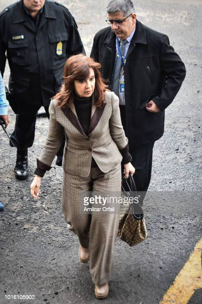 Former Argentinian President Cristina Fernandez de Kirchner arrives at Comodoro Py Courthouse on August 13 2018 in Buenos Aires Argentina Judge...