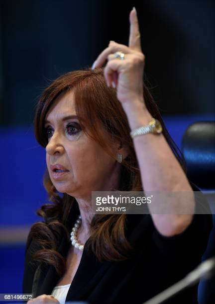 Former Argentinian president Cristina Fernandez de Kirchner gives a press conference on the theme Capitalism Neoliberalism Democratic crisis The...