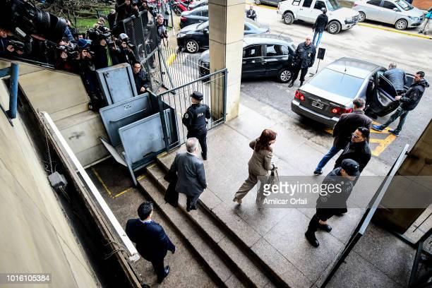 Former Argentinian President Cristina Fernandez de Kirchner leaves Comodoro Py Courthouse on August 13 2018 in Buenos Aires Argentina Judge Claudio...