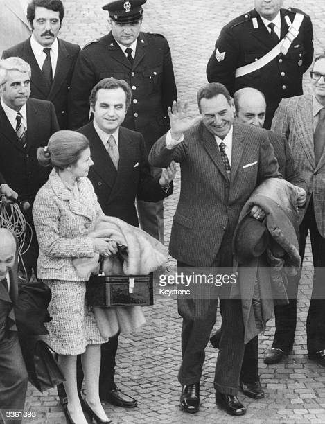 Former Argentinian president Juan Peron with his wife Isabel de Peron at Ciampino Airport Rome
