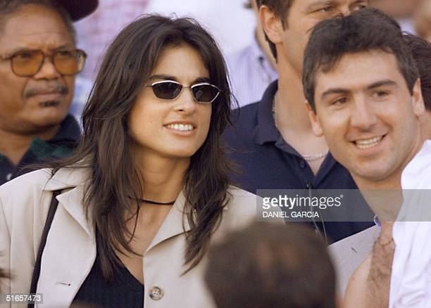 Former Argentinian tennis player Gabriela Sabatini watches the 1998 Soccer World Cup quarter final match between the Netherlands and Argentina, 04...