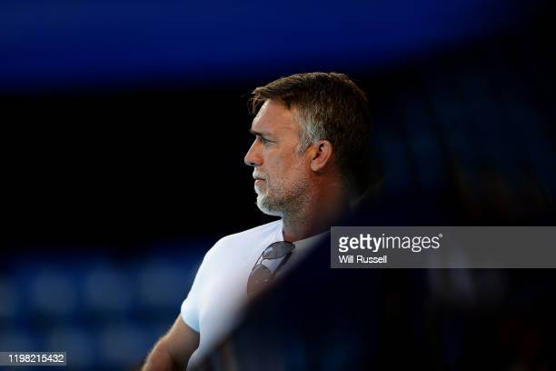 Former Arggentina professional footballer Gabriel Batistuta watches the Team Spain games during day six of the 2020 ATP Cup Group Stage at RAC Arena...