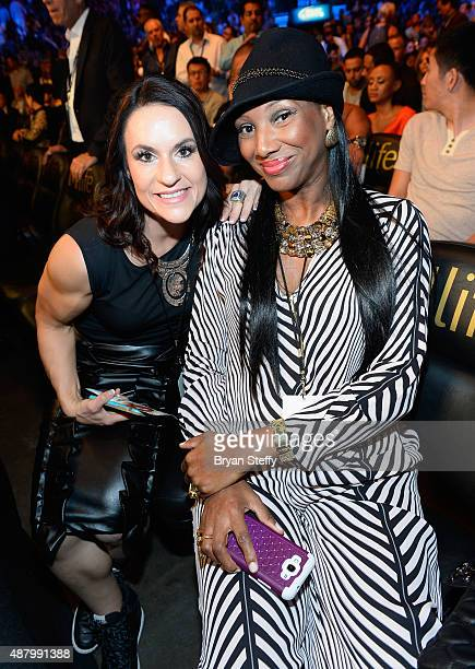 Former Arizona Cardinals training camp/preseason intern linebackers coach Jen Welter attends the 'High Stakes Mayweather v Berto' fight presented by...