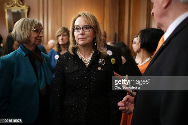Former Arizona Congresswoman Gabby Giffords joins other gun violence survivors and safety advocates for a news conference to introduce legislation to...