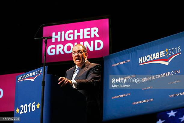 Former Arkansas Gov Mike Huckabee speaks as he officially announces his candidacy for the 2016 Presidential race on May 5 2015 in Hope Arkansas...