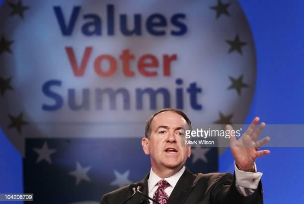 Former Arkansas Gov Mike Huckabee speaks at the Values Voter Summit September 17 2010 in Washington DC The Values Voter Summit is an annual...