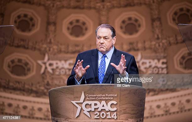 Former Arkansas Gov. Mike Huckabee speaks during the American Conservative Union's Conservative Political Action Conference at National Harbor, Md.,...