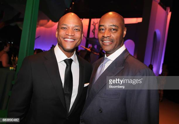 Former Army Captain Wes Moore left and Ray McGuire global head of corporate and investment banking for Citigroup Global Markets Inc stand for a...