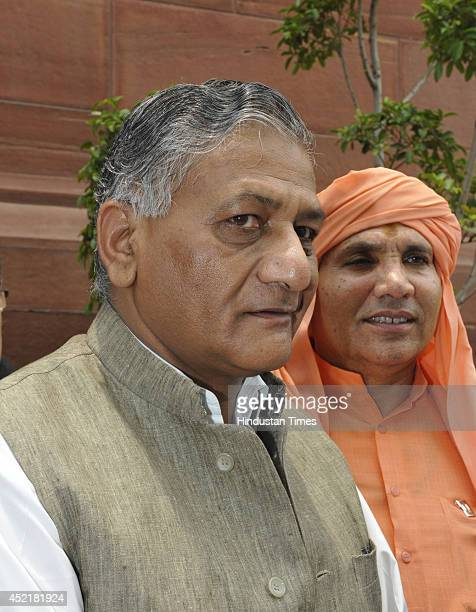 Former Army chief and Minister of Development of North Eastern Region Gen VK Singh at Parliament after the budget session on July 15 2014 in New...